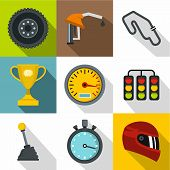 Race Cars Icons Set. Flat Illustration Of 9 Race Cars Icons For Web poster