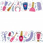 Nail Studio Banner With Place For Your Text.  Manicure Salon. Nail Polish Symbols, Manicure Accessor poster