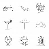 Trip To Sea Icons Set. Outline Illustration Of 9 Trip To Sea Icons For Web poster