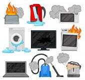 Broken Home Appliances Set, Damaged Electrical Household Equipment Vector Illustrations On A White B poster