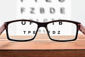 Glasses On Table And Alphabet Letter Front View poster
