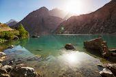 Beautiful serene lake in  Fanns mountains (branch of Pamir) in Tajikistan. poster