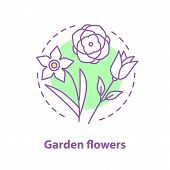 Garden Flowers Concept Icon. Botany Idea Thin Line Illustration. Roses, Daffodil. Vector Isolated Ou poster