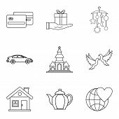 Companion Icons Set. Outline Set Of 9 Companion Icons For Web Isolated On White Background poster