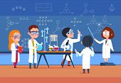 School Kids In Chemistry Lab. Children In Science Laboratory Make Test. Cartoon Pupils Girls And Boy poster