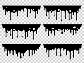 Dripping Oil Stain. Liquid Ink, Paint Drip And Drop Of Drippings Stains. Black Resin Inked Drops Iso poster