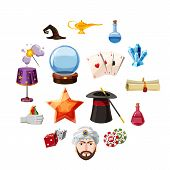 Magician Icons Set Items. Cartoon Illustration Of 16 Magician Items Icons For Web poster