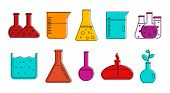 Chemical Pots Icon Set. Color Outline Set Of Chemical Pots Icons For Web Design Isolated On White Ba poster