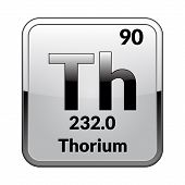 Thorium Symbol.chemical Element Of The Periodic Table On A Glossy White Background In A Silver Frame poster