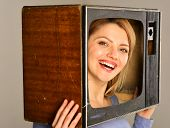Tv Reporter. Happy Woman Tv Reporter With Retro Set. Tv Reporter Smiling From Screen. Tv Reporter Ma poster