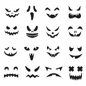 Pumpkin Faces. Halloween Jack O Lantern Face Silhouettes. Monster Ghost Carving Scary Eyes And Mouth poster