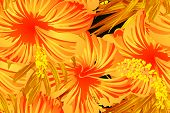 Orange Yellow Exotic Pattern. Monstera Leaves And Hibiscus Flowers In Summer Print.  Hawaiian T-shir poster