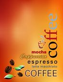 Coffee background - modern cover of a coffee shop menu with coffee beans, abstract sun, leaves and w