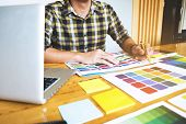 Graphic Designers Choose Colors From The Color Bands Samples For Design .designer Graphic Creativity poster