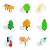 Wildlife Sanctuary Icons Set. Isometric Set Of 9 Wildlife Sanctuary Icons For Web Isolated On White  poster