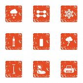 Fitness Recreation Icons Set. Grunge Set Of 9 Fitness Recreation Icons For Web Isolated On White Bac poster