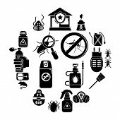 Pest Control Tools Icons Set. Simple Illustration Of 16 Pest Control Tools, Icons For Web poster