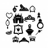 Princess Doll Icons Set. Simple Illustration Of 16 Princess Doll Icons For Web poster