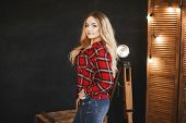 Beautiful And Fashionable Blonde Pluss-size Model Girl With Big Breast In Red Plaid Shirt And In A J poster