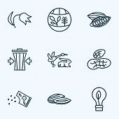 World Icons Line Style Set With Flora, Eco Bulb, Fauna And Other Energy Elements. Isolated Vector Il poster