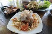 Papaya Salad Thai Food (som Tum) With Grilled Chicken And Shrimp,spicy Delicious And Healthy Food Fr poster