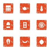 Vital Activity Icons Set. Grunge Set Of 9 Vital Activity Icons For Web Isolated On White Background poster