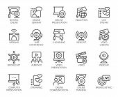 Line Icons Of Webinars, Online Education. Web Conferences, Remote Video Meetings. Modern Internet Te poster