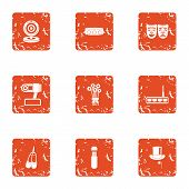 Cheerful Concert Icons Set. Grunge Set Of 9 Cheerful Concert Icons For Web Isolated On White Backgro poster