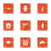 Crime Challenge Icons Set. Grunge Set Of 9 Crime Challenge Icons For Web Isolated On White Backgroun poster