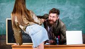 Student Temptress. Student In Mini Skirt With Sexy Buttocks Seduces Teacher. Sexy Seduction. School  poster