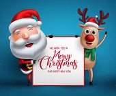 Merry Christmas Greeting Template With Santa Claus And Reindeer Vector Characters Holding Empty Whit poster