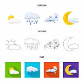 Vector Illustration Of Weather And Weather Symbol. Set Of Weather And Application Stock Symbol For W poster