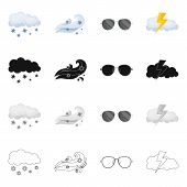 Vector Illustration Of Weather And Weather Icon. Set Of Weather And Application Stock Symbol For Web poster