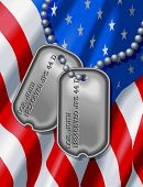 10x13 Background of an American Flag with Soldiers Dog Tags