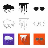 Isolated Object Of Weather And Weather Sign. Set Of Weather And Application Stock Vector Illustratio poster