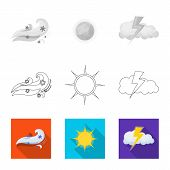 Isolated Object Of Weather And Weather Logo. Collection Of Weather And Application Stock Symbol For  poster