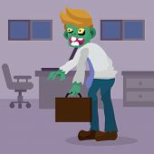 Cartoon Zombie Office Worker, Illustration Of Businessman Character poster