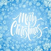 Merry Christmas Hand Drawn Lettering In Snowflakes Frame. Xmas Isolated Calligraphy In Round Frame.  poster