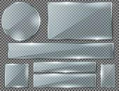 Vector Realistic Set Of Transparent Glass Plates, Blank Shining Frames Isolated On Background. Colle poster