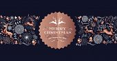 Merry Christmas Copper Label Design With Holiday Seamless Pattern, Reindeer Silhouette And Xmas Elem poster