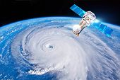 Research, Probing, Monitoring Hurricane Florence. Satellite Above The Earth Makes Measurements Of Th poster