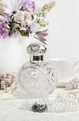 picture of cameos  - Cameo earrings on ladies dressing table with antique scent bottle in background - JPG