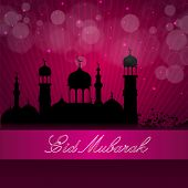 image of kaba  - Eid Mubarak background with silhouette Mosque and Masjid on pink background - JPG