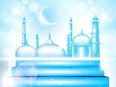 stock photo of kaba  - Eid Mubarak background with shiny moon and  Mosque and Masjid - JPG