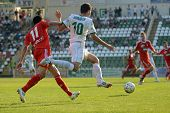 KAPOSVAR, HUNGARY - AUGUST 4: Tamas Horvath (white 10) in action at a Hungarian National Championshi