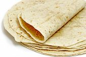 picture of flat-bread  - Tortilla flat bread on bright background - JPG