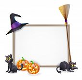 image of witch  - Halloween sign with witches hat Halloween pumpkin witches black cat and broom stick and blank sign for your text - JPG