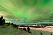 Clouds and Northern Lights over Lake Laberge Yukon