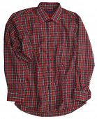 Man's red green cotton plaid shirt