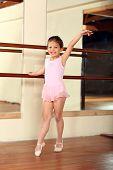 stock photo of girlie  - Cute little girl practicing her ballet - JPG